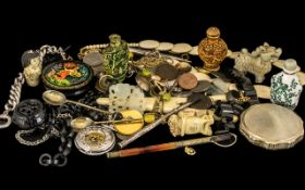 Mixed Assorted Items including Oriental snuff bottles, Oriental figures, ivory necklace, coins,