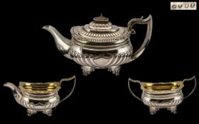 George III Top Quality Heavy & Impressive Gold Gilt Interior 3 Piece Silver Tea Service by Crispin