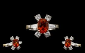 Stunning 18ct White Gold Orange Sapphire and Diamond Dress Ring of Top Quality In All Aspects. c.