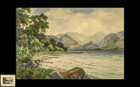 Edward. H. Thompson Fine Watercolour Drawing of ' Derwent Water Lake District ' Dated 1921. Framed