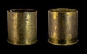 Rare Pair of Large Brass Shell Cases one