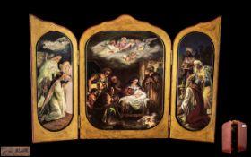 German Porcelain Triptych Plaque in Gilt