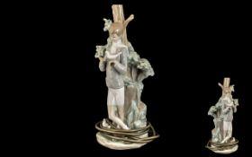 Lladro Handpainted Figural Porcelain Lam