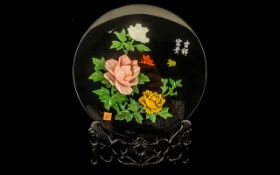 Chinese Wooden Lacquered Plate with stand, with colourful floral decoration, in original box. From