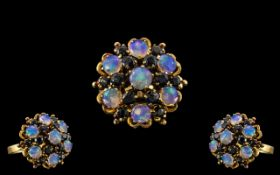 18ct Gold Impressive and Attractive Opal and Sapphire Set Cluster Ring,