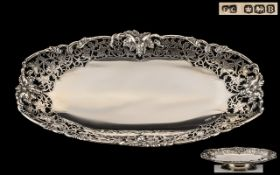 Mid 20th Century Superb Quality Stylish Sterling Silver Elongated Footed Fruit Bowl with wonderful