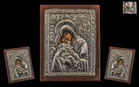 Russian / Greek Stamped Silver Embossed Icon, Depicting Mary and Child with a Painted Face, Wood