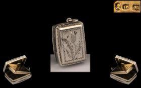 George IV - Superb Sterling Silver Vinaigrette by John Bettridge and Hallmarked Birmingham 1824,
