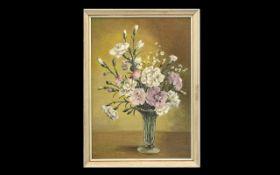 Still Life Oil on board by Norah Simpson (Australian 1895-1974). Depicts flowers in a glass vase,