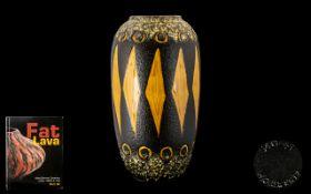 Fat Lava West German Ceramic Art Pottery Sculpted Vase, Scheurich Floor Vase,