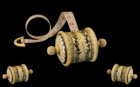A Wonderful 19th Century Exquisite Carved Ivory Bobin - Pull Out Tape Measure Used by a Seamstress