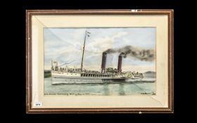 Watercolour Pastel Drawing of the Steamship Glen-Sannox, approaching Whiting Bay, CA 1895. Signed