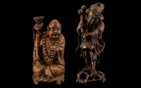 Meiji Period Carved Root Wood Figures The first depicting a laughing Buddha.