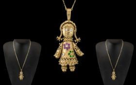 Superb Quality Novelty 9ct Gold Gem Set Reticulated Rag Doll Pendants Figure Set with Diamonds,