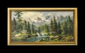 Large Oil Painting on Canvas depicting an alpine River landscape, with snow on the mountains in