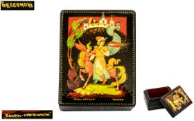 Russian Superb Quality Hand Painted Signed and Titled Papier Mache Lacquered Lidded Box, of small