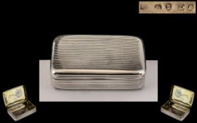 George III - Early Period Sterling Silver Hinged Snuff Box. Hallmark for London 1799, Makers Mark R.