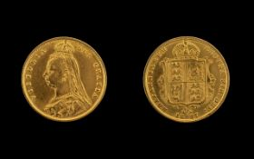 Queen Victoria Jubilee Head and Shield Back 22ct Gold Half Sovereign - Date 1887,