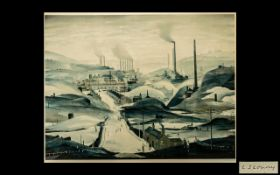 LAURENCE STEPHEN LOWRY, RA (1887-1976) INDUSTRIAL PANORAMA Offset lithograph,