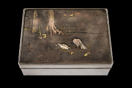 Japanese - 19th Century Superb Quality Signed Soft Metal Inlaid Silver Lidded Box.