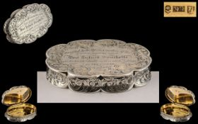 Early Victorian Period Superb Oval Shaped Silver Snuff Box by Nathaniel Mills.