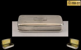 George IV - Quality Silver Hinged Snuff Box by Nathaniel Mills. Hallmark for Birmingham 1828.