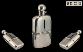 Edwardian Period - Gentleman's Large Sterling Silver Hip Flask of Superb Quality,