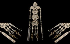 Victorian Period Superb Quality Repousse Work Sterling Silver 5 Chain Chatelaine and Attachments.