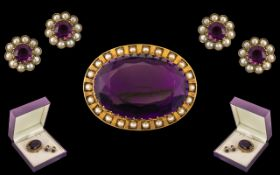 Mid Victorian Period Superb and Large 15ct Gold Faceted Amethyst / Seed Pearl Set Mounted Brooch