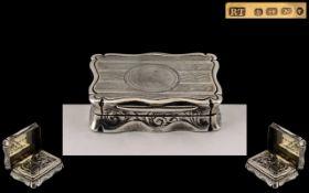 Victorian Period - Superb Sterling Silver Vinaigrette by Robert Thornton ( Silversmith ) Hallmark