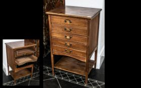 Edwardian Mahogany Five Drawer Music Cabinet with brass drop handles and fall front;