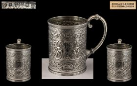 Scottish - 19th Century Excellent Quality - Sterling Silver Repousse Worked Small Cup of Excellent