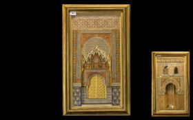 A Pair of 19thC Middle Eastern Painted Plaster Plaques depicting architecture housed in a glazed