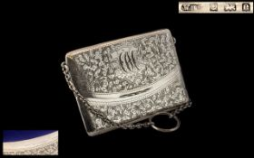 Edwardian Period Superb Silver Card Case In The Form of a Ladies Purse with Silver Chain Attached,