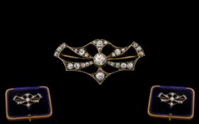 Antique Period Attractive and Top Quality Diamond Set Ladies Brooch of Pleasing Form / Design the