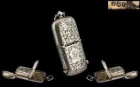 Victorian Period - Walker and Hall Decorative Sterling Silver Combined Vesta and Sovereign Case