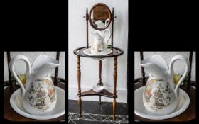 Reproduction Mahogany Wash Stand with washbowl and jug, on trifoil base,