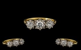 18ct Gold - Attractive Quality 3 Stone Diamond Ring - Illusion Set. Fully Hallmarked for 750 - 18ct.