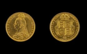 Queen Victoria Jubilee Head and Shield Back 22ct Gold Half Sovereign - Date 1887.