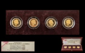 Royal Mint The Gold Proof Pattern Collection, A boxed collection of four 22ct Gold £1 pound coins,
