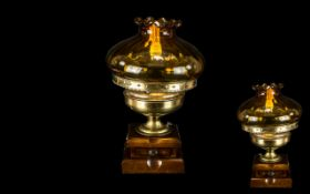 A Gothic Antique Brass Converted Candlestick Lamp of typical form, Measures 30 inches height.