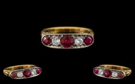 Antique Period 18ct Gold - Attractive 5 Stone Diamond and Ruby Set Dress Ring - Gallery Setting.