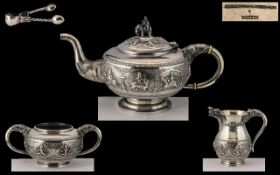 Anglo Indian - Superb Quality 19th Century Colonial Solid Silver 4 Piece Tea Set Madras - 1890's.