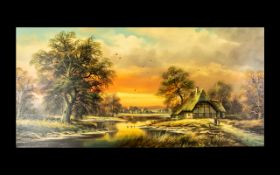 Large Oil on Canvas depicting a country scene at dusk with figures. Framed. Signed 'Baumgart'.