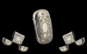 Scarce - 19th Century Silver Plated Double Ended Vesta Case. c.1890. Museum Quality. Size 5 x 3 cms.