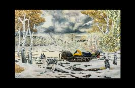 A Large Arctic Scene by Keith Harper, modern British oil on canvas, depicting a man reclining on a