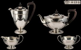 Elkington & Company Stylish and Superb Quality 4 Piece Sterling Silver Tea Service of Wonderful
