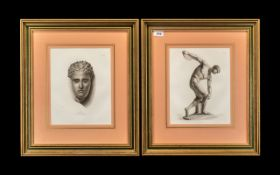 """Pair of Prints After the Antique Roman Style, in modern frames, print measures 9"""" x 12"""","""