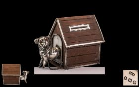 Edwardian Period 1902 - 1910 Novelty and Rare Sterling Silver and Wooden Money Box In The Form of a