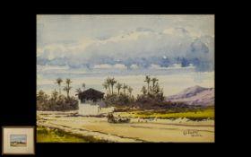 Gabrielle Carelli, Listed Italian Artist, 1821-1900, Watercolour of Spanish Desert Scene with
